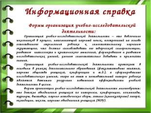 Формы организация учебно-исследовательской деятельности: Организация учебно-и