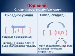 Порівняй! Сполучникові складні речення Складнопідрядні [ ], (що ) Мати сподів