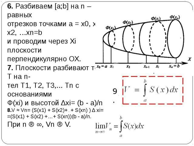 6. Разбиваем [a;b] на n – равных отрезков точками а = х0, х1, х2, …хn=b и про...