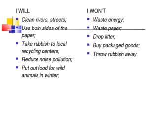 I WILL Clean rivers, streets; Use both sides of the paper; Take rubbish to lo