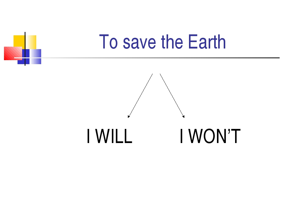 To save the Earth I WILL I WON'T