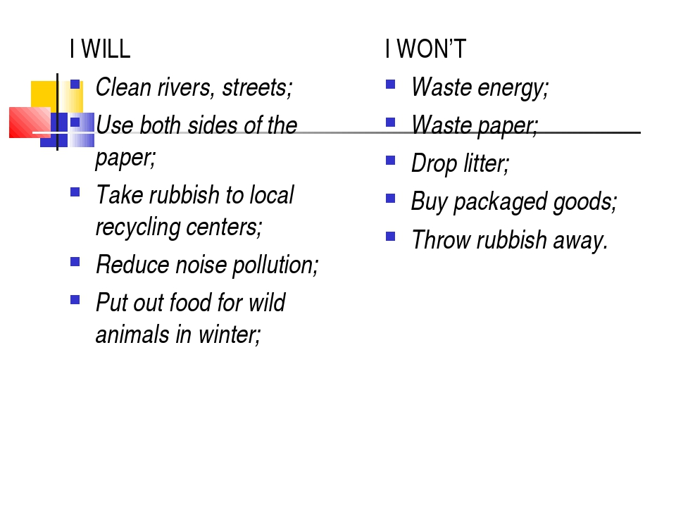 I WILL Clean rivers, streets; Use both sides of the paper; Take rubbish to lo...