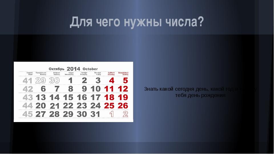 Для чего нужны числа? Знать какой сегодня день, какой год и когда у тебя день...