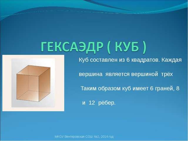 Куб составлен из 6 квадратов. Каждая его вершина является вершиной трёх квад...