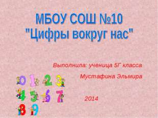 Выполнила: ученица 5Г класса Мустафина Эльмира 2014