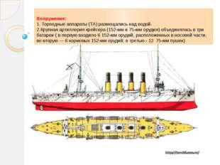 Вооружение: 1. Торпедные аппараты (ТА) размещались над водой. 2.Крупная артил