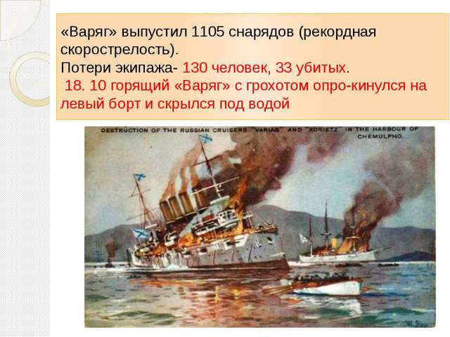 «Варяг» выпустил 1105 снарядов (рекордная скорострелость). Потери экипажа- 13...