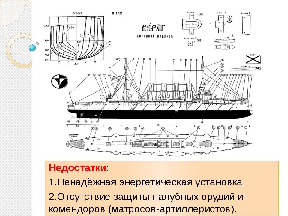 Недостатки: 1.Ненадёжная энергетическая установка. 2.Отсутствие защиты палуб...
