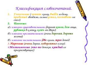 Классификация словосочетаний. Глагольные ( читать книгу, выйдя из дому, приби