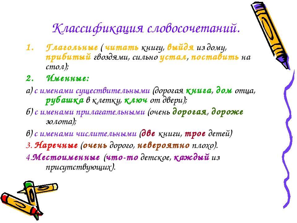 Классификация словосочетаний. Глагольные ( читать книгу, выйдя из дому, приби...