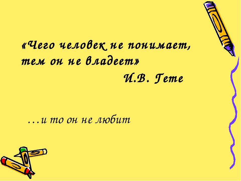 «Чего человек не понимает, тем он не владеет» И.В. Гете …и то он не любит
