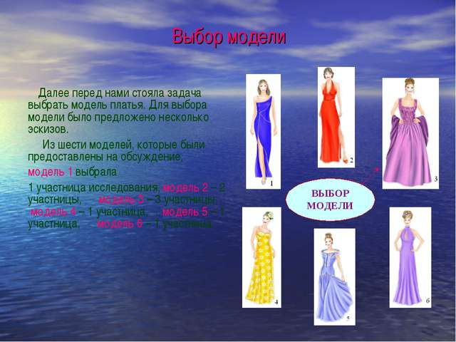 Выбор модели Далее перед нами стояла задача выбрать модель платья. Для выбора...