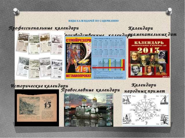 ВИДЫ КАЛЕНДАРЕЙ ПО СОДЕРЖАНИЮ Профессиональные календари Исторические календ...
