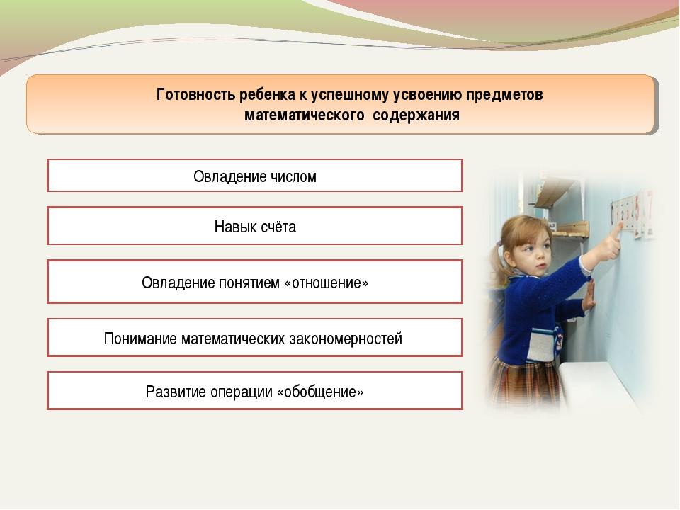 Готовность ребенка к успешному усвоению предметов математического содержания...