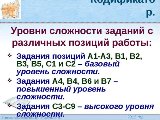 Кодификатор. Задания позиций А1-А3, В1, В2, В3, В5, С1 и С2 – базовый уровень...