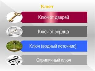 Ключ Ключ от дверей Ключ от сердца Ключ (водный источник) Скрипичный ключ