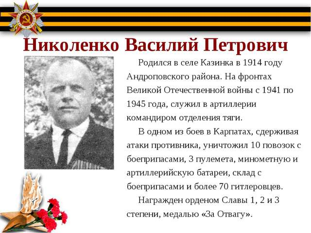 Николенко Василий Петрович Родился в селе Казинка в 1914 году Андроповского...