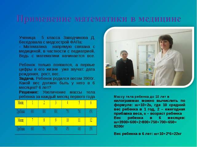 Ученица 5 класса Заводчикова Д. беседовала с медсестрой ФАПа: - Математика на...
