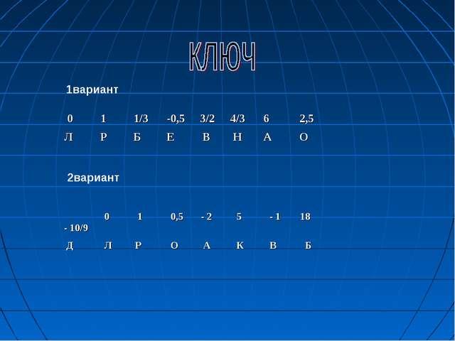 1вариант 2вариант 0 1 1/3 -0,5 3/2 4/3 6 2,5 Л Р Б Е В Н А О -...