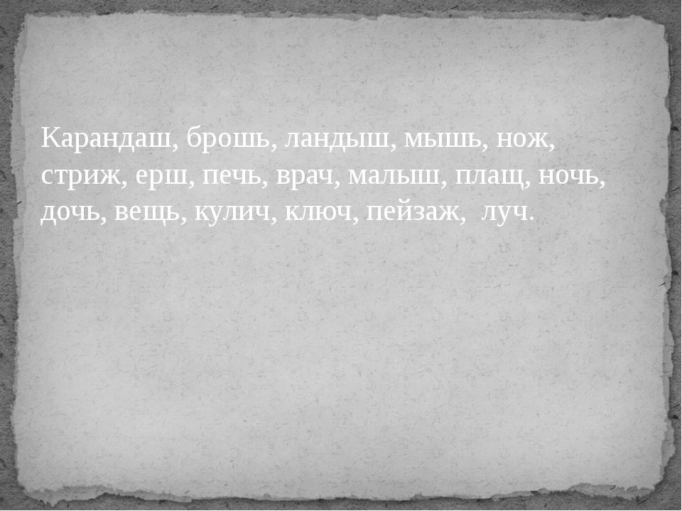 Карандаш, брошь, ландыш, мышь, нож, стриж, ерш, печь, врач, малыш, плащ, ночь...