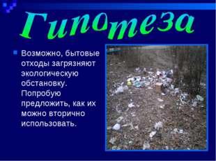 Возможно, бытовые отходы загрязняют экологическую обстановку. Попробую предло