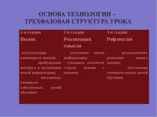 1-я стадия2-я стадия3-я стадия Вызов Реализация смыслаРефлексия -актуализ