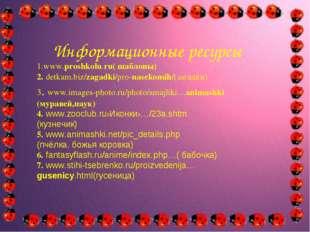 Информационные ресурсы 1.www.proshkolu.ru( шаблоны) 2. detkam.biz/zagadki/pr