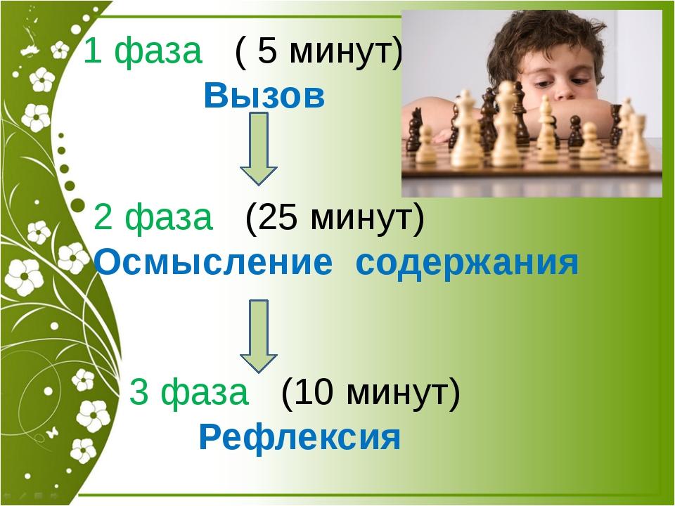 1 фаза ( 5 минут) Вызов 2 фаза (25 минут) Осмысление содержания 3 фаза (10 ми...