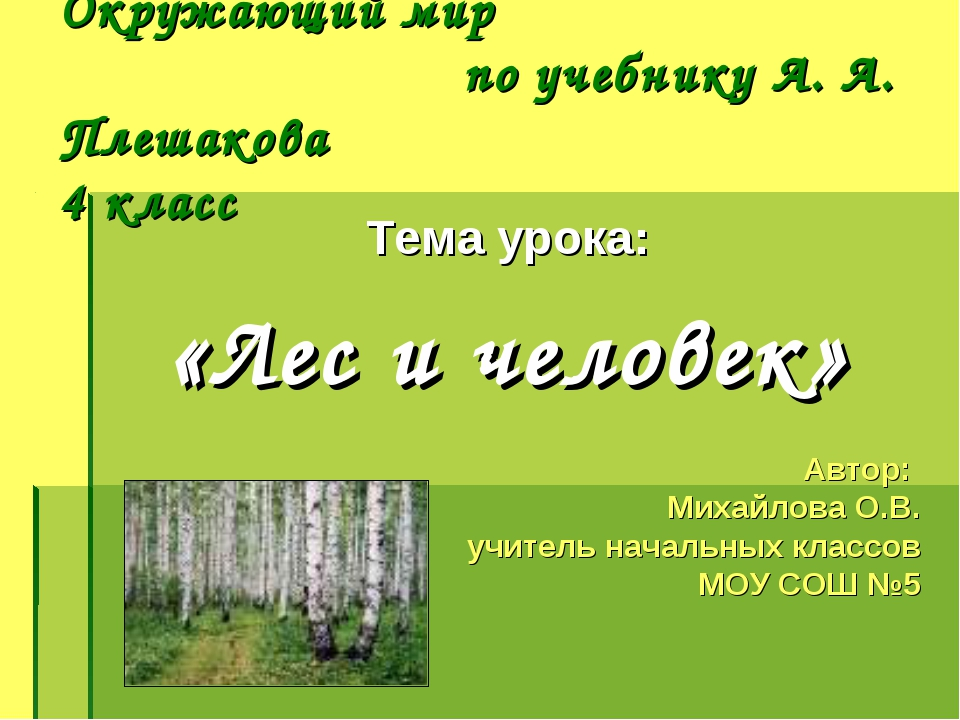 Окружающий мир по учебнику А. А. Плешакова 4 класс Тема урока: «Лес и человек...