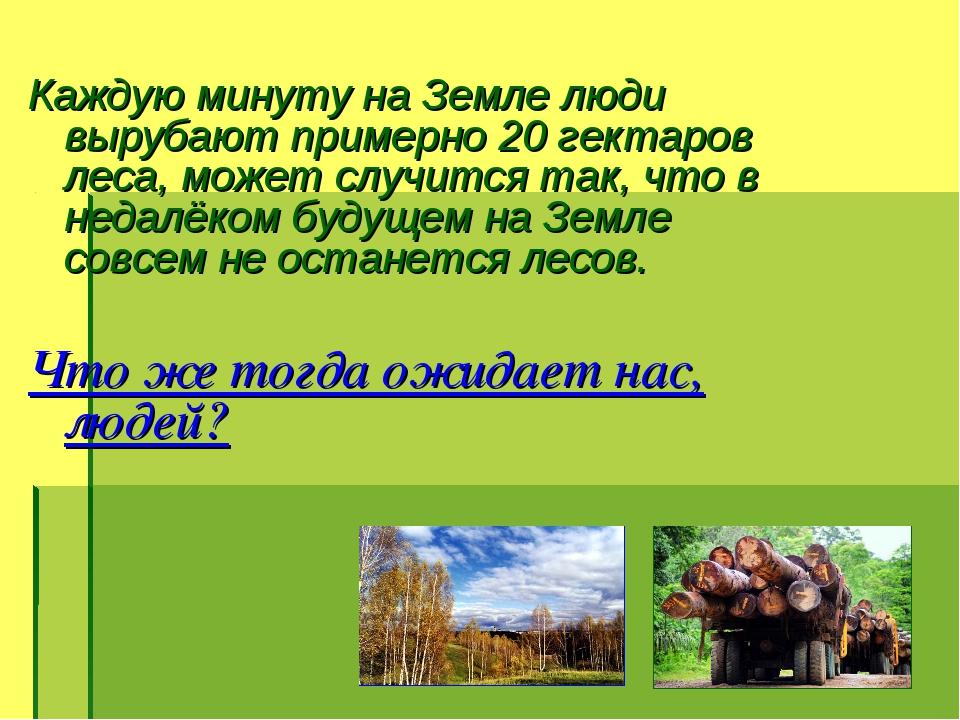 Каждую минуту на Земле люди вырубают примерно 20 гектаров леса, может случит...
