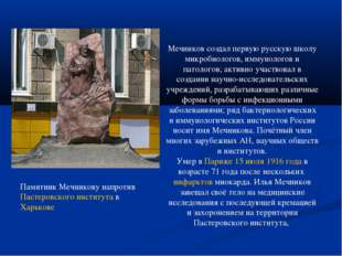 Памятник Мечникову напротив Пастеровского института в Харькове Мечников созда