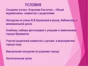УСЛОВИЯ Создание уголка «Королева Кисточка», «Юный мурманчанин» совместно с