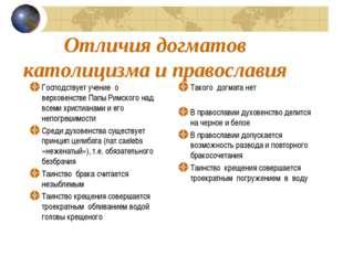 Отличия догматов католицизма и православия Господствует учение о верховенстве