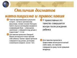 Отличия догматов католицизма и православия Таинство миропомазания( в результа