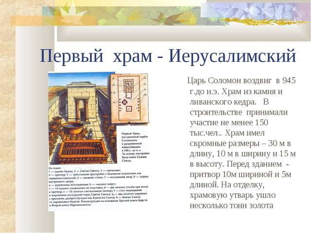 Первый храм - Иерусалимский Царь Соломон воздвиг в 945 г.до н.э. Храм из камн...
