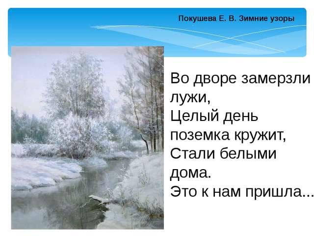 Покушева Е. В.Зимние узоры Во дворе замерзли лужи, Целый день поземка кружит...