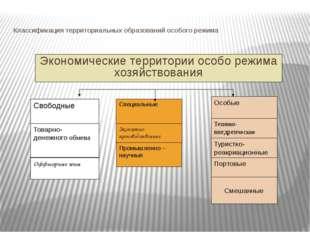 Классификация территориальных образований особого режима Экономические террит
