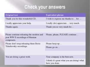 Check your answers Originaltext Equivalentphrase Thank you for this wonderful