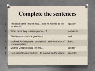 Complete the sentences 1 The idea came into his had… and he hurried to tell u