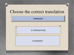 Choose the correct translation a championship competition чемпионат