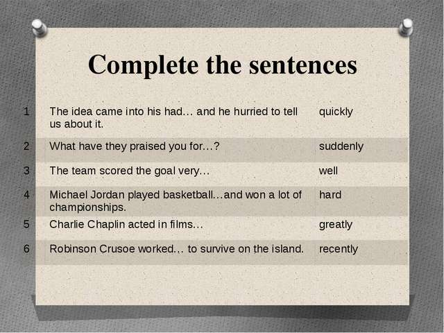 Complete the sentences 1 The idea came into his had… and he hurried to tell u...