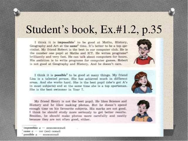 Student's book, Ex.#1.2, p.35
