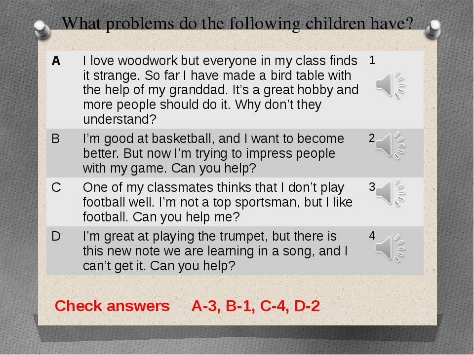 What problems do the following children have? Check answers A-3, B-1, C-4, D-...
