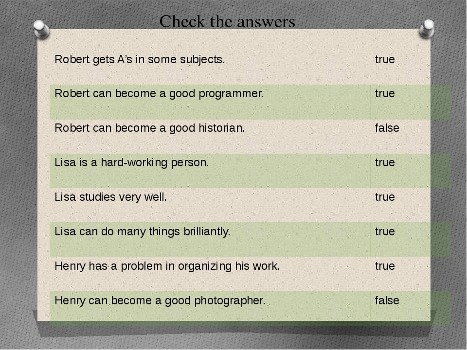 Check the answers Robert gets A's in some subjects. true Robert can become a...