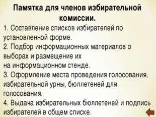 Памятка для членов избирательной комиссии. 1. Составление списков избирателей