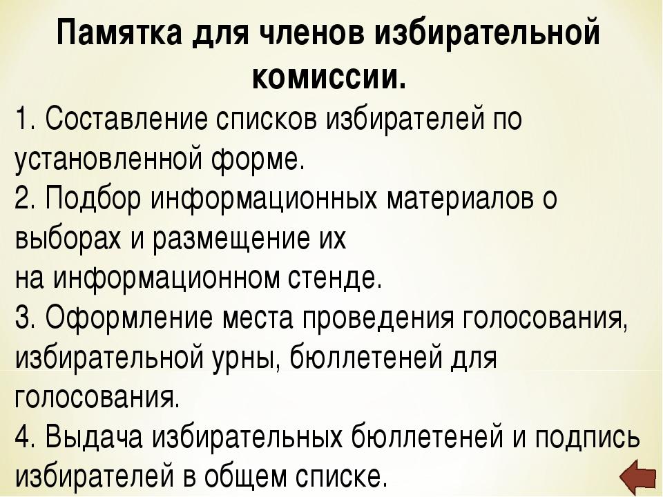 Памятка для членов избирательной комиссии. 1. Составление списков избирателей...