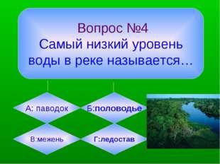 Вопрос №4 Самый низкий уровень воды в реке называется… А: паводок Б:половодь