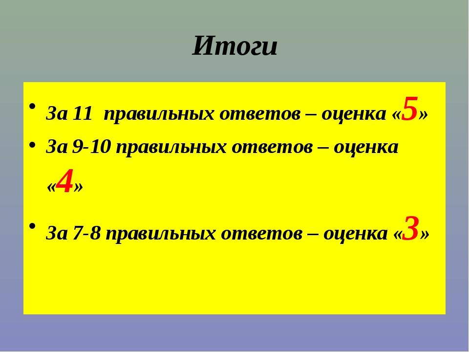 Итоги За 11 правильных ответов – оценка «5» За 9-10 правильных ответов – оцен...