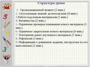 1. Организационный момент (2 мин.) 2. Актуализация знаний, целеполагание (8