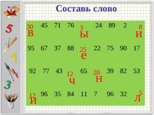 Составь слово 3 12 5 25 30 12 20 8 в е л и ч и н ы 45717624892 9567